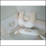 kit berço tradicional palha com branco padrão americamo 100%ALGODÃO